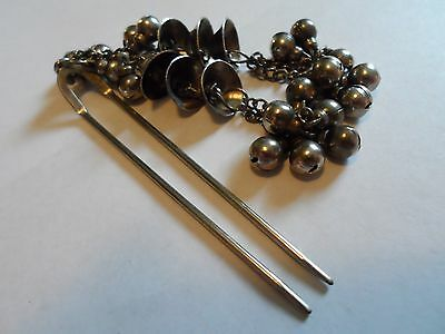 Vintage Made In Hong Kong Silver Tone Dangling Bells & Beads Pin