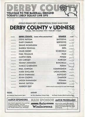 Derby County v Udinese (Team Sheet) (Anglo-Italian Cup) 1994-1995