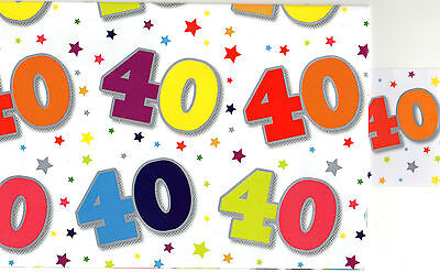 40Th Birthday Gift Wrapping Paper 2 Sheets 1 Tag 50 X 70 Cm