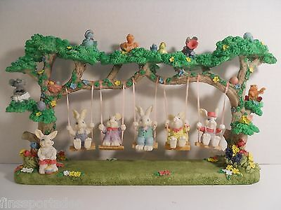 Beautiful EASTER BUNNY RABBIT TREE SWING SET DISPLAY ~ Designed by Jaimy