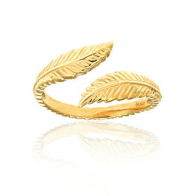 10k Solid Yellow Gold Leaf Cross Over Toe Ring Adjustable