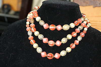 Peachy Pink, Beige & Textured Gold Tone Colour Beaded Necklace *LOVELY*