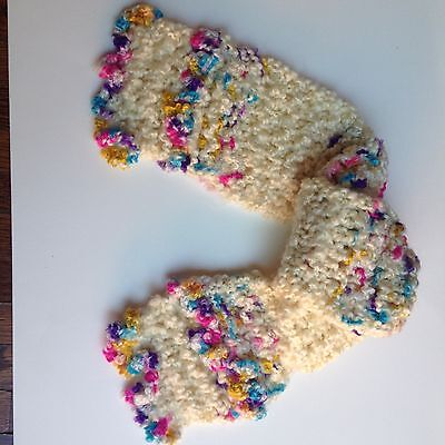 Free Shipping!  Hand Knit Cream Color  Child's Scarf!