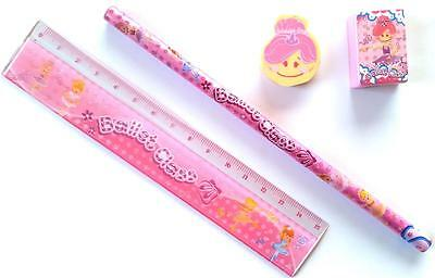 Bulk Lot x 5 Girls Pink BALLET 4 Pce Stationery Packs Party Favor Novelty Toy