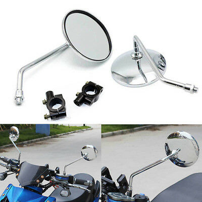 8mm Chrome  Side Rear View Mirrors + Adapters for Scooter Motorcycle Push Bike