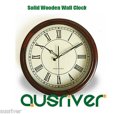 New Classic Retro Roman Numeral Solid Wooden Wall Clock Silent Sweep Home Decor