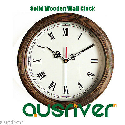 Classic Retro Roman Numeral Solid Oak Wooden Wall Clock Home Decor Silent Sweep