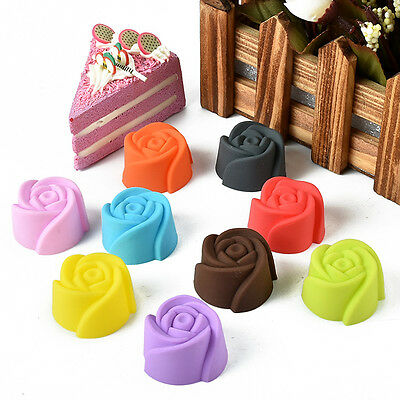 NEW 10 Pcs Silicone Rose Flower Cookie Cup Cake Baking Chocolate Jello Mould