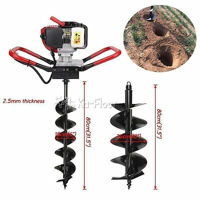 "2.3 HP Gas Powered Post Hole Digger & 2 auger Bits 6""+10"" 55CC Power Engine Kit"