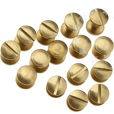 10pcs 4/6/8 x 4.5mm Flat Belt Screw Leather Craft Brass Solid Rivets Stud Head