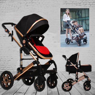 New Green 3 in1 Luxury Aluminium Baby Toddler Pram Stroller Jogger with Bassinet