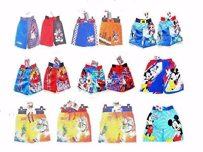 Boys Character Surf Swim Shorts Swimming Trunks Mario Cars Mickey Ages 2-10