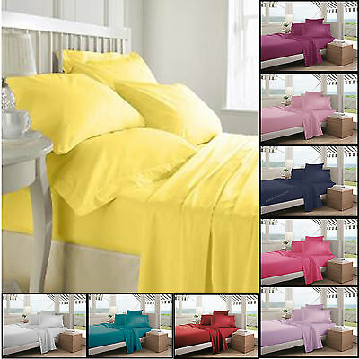 Fitted Dyed Cover Plain Flat Bed Sheet PillowCase Cotton Bedding Sets All Sizes