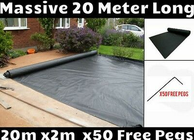 2m x 20m Weed Control + 50 Free Pegs Ground Cover Membrane Landscape Fabric. New