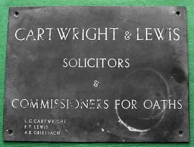 c1900 Genuine Brass Lawyer Solicitor Cartwright & Lewis Antique Sign Plaque