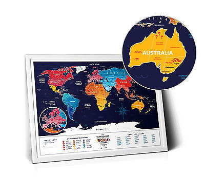 World Wall Map - Scratch Map - Personalized Scratch Off Map World Poster Travel