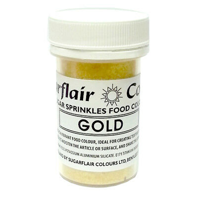 GOLD - Sugarflair Edible Sugar Sprinkles Food Colour Colouring Cake Decorating