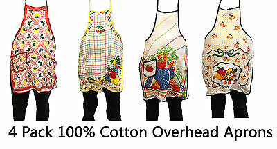 4 Pack Overhead Cotton Apron Cooking Chef Kitchen BBQ Waiter Waitress catering