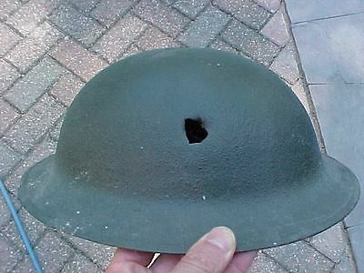 Original Wwi Us Helmet - Bullet Or Shrapnel Hit