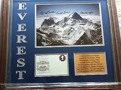 Mount Everest display signed by SEVEN of the 1953 Ed Hillary team! UACC DEALER