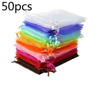 "Bluecell Pack of 50 Organza Drawstring Gift Bag Pouch Wrap for 4.5x3.5"" 10colors"