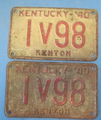 1940 Kentucky license plates matched pair