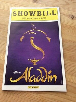 Disney Aladdin Broadway Musical Playbill Nyc New Amsterdam Theatre White Boarder
