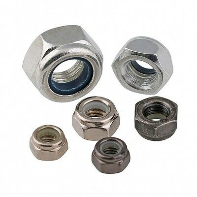 M8 M10 M12 M14 M16 Ni-Plated/Black-Zinc/White-Zinc Hex Nyloc Lock Nuts