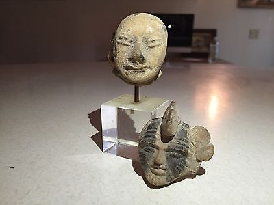 Pre Colombian Small Stone Heads One Mounted