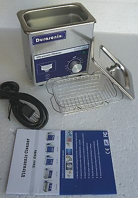 Durasonix 0.7 Liter Ultrasonic Cleaner Knob Controlled Timer Stainless /w busket
