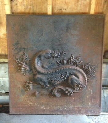 Antique High Relief Cast Iron French Fire Back Royal Salamander 19th Century