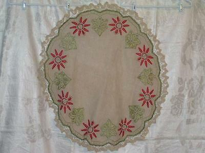 Unbleached Homespun Linen Arts & Crafts A&C Embroidered Floral Round Tablecloth
