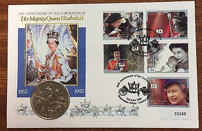 40th anniversary of coronation of qeII pnc with 5 pound coin - 33809 serial