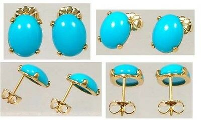18thC Antique 4½ct+ Persian Turquoise Medieval Traveler Amulet German Earrings