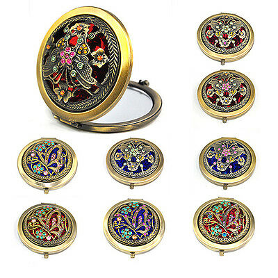 Eastern Classic Bronze Compact Pocket Illuminated Beauty Make up Mirrors N3