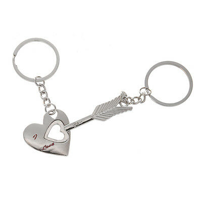 """Lover His Her Keychain Keyring Couples-Arrow & """"I Love You"""" Heart & Key Gift N3"""