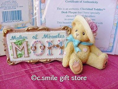 """Cherished Teddies """"MOM MAKER OF MIRACLES SIGN"""" Enesco 303054 MIB w/FREE BUTTON"""
