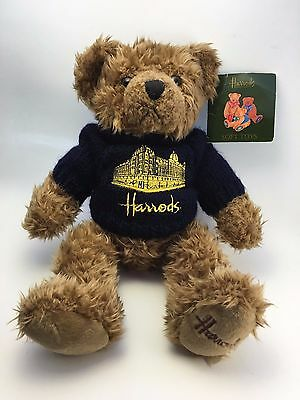 Harrod's Knightsbridge Teddy Bear Sweater Silhouette Blue Plush Stocking Stuffer