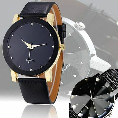Men's Date Leather Watch Strap Stainless Steel Military Sport Quartz Wrist Watch