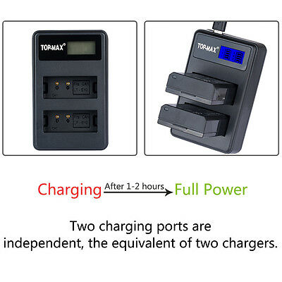 Dual Battery Charger For Canon LP-E10 LPE10 LP E10 EOS 1100D Rebel T3 KISS X50