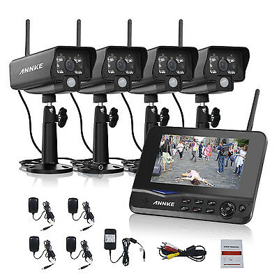 """ANNKE 4CH Wireless CCTV Camera Kit 7""""LCD Monitor Record DVR Home Security System"""