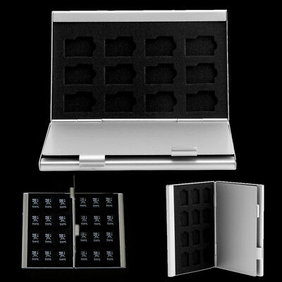 Silver Aluminum Memory Card Storage Case Box Holder For 24 TF Micro SD Cards
