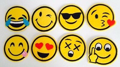 EMOJI Iron On Embroidered Patch Applique Motif.LOT OF 4 Pieces CHOOSE PACK :)