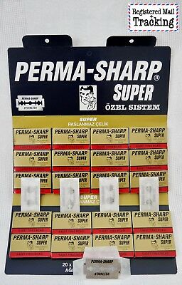 50 Pieces PERMA-SHARP DOUBLE EDGE RAZOR BLADES, 100% Genuine
