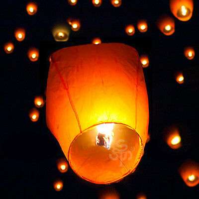 US 10 Multi Color Chinese Lanterns Sky Fly Candle Lamp for Wish Party Wedding