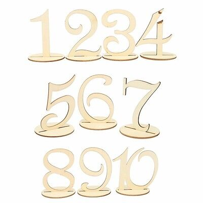 Vintage Wooden Table Numbers 1-10 Set With Stands For Wedding