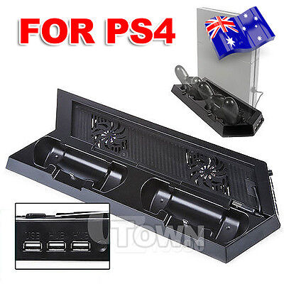 Black P4 Console Dock+Cooling Fan+Controller Charger Stand for Playstation PS4