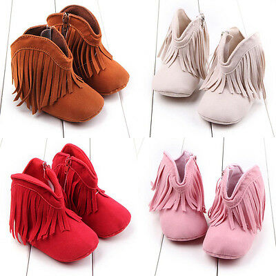 Infant Newborn Baby Girl Soft Sole Boots Toddler Tassel Moccasin Crib Shoes