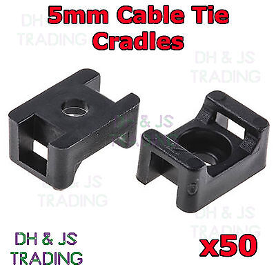50 x 5mm Black Cable Tie Saddles Cradles Mounts Bases Wire Clips Clamps Wire