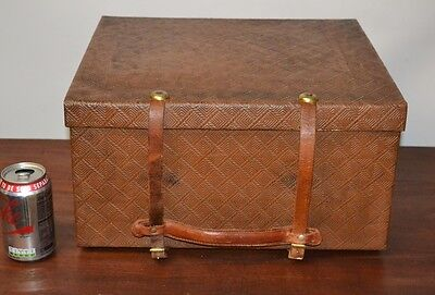 Vintage THE N.D. Leather Hat Box Case Travel  [PL-2384]